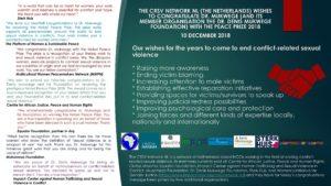 Congratulations to Dr. Mukwege and Dr. Denis Mukwege Foundation on behalf of the CRSV Network NL